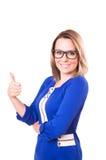 Biznesowej kobiety kciuka up gest, odosobniony na białym tle Obraz Stock