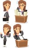 Biznesowej kobiety kreskówki ilustracje ilustracji
