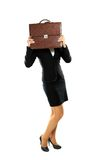 Biznesowej kobiety kryjówka teczka obrazy stock
