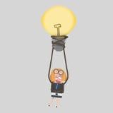 Biznesowej kobiety latanie na gorące powietrze balonu pomysle 3d ilustracji