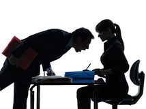 Biznesowej kobiety mężczyzna pary sylwetka Fotografia Royalty Free