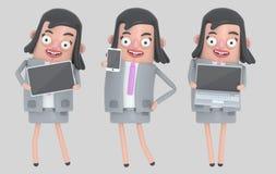Biznesowej kobiety mienia laptop, smarthone i pastylka, odosobniony zdjęcie royalty free