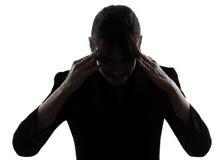 Biznesowej kobiety migreny zmęczona sylwetka Fotografia Stock