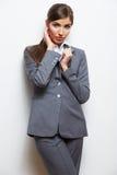 Biznesowej kobiety mody stylu odosobniony portret Kobiety wzorcowy st Fotografia Stock