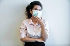 Biznesowej kobiety odzieży higieny choroba i maska zdjęcie stock