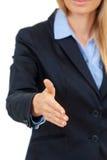 Biznesowej kobiety ofiara dla uścisku dłoni Obrazy Stock