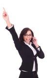 Biznesowej kobiety otuchy na telefonie Obraz Royalty Free