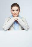 Biznesowej kobiety portret, biały sztandaru tło Obrazy Stock