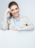 Biznesowej kobiety portret, biały sztandaru tło Fotografia Royalty Free