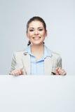 Biznesowej kobiety portret, biały sztandaru tło Zdjęcia Royalty Free