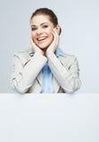Biznesowej kobiety portret, biały sztandaru tło Zdjęcie Stock