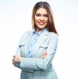 Biznesowej kobiety portret, biały tło Zdjęcia Royalty Free