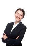 Biznesowej kobiety portret Krzyżować ręki odosobniony Zdjęcie Stock