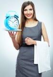 Biznesowej kobiety portreta chwyta zegarek Obrazy Royalty Free