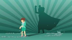 Biznesowej kobiety pozycja z bohatera cieniem Biznesowy symbol Zwyci?zca i wyzwania poj?cie Komiczna p?tli animacja