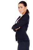Biznesowej kobiety pozycja z rękami krzyżować zdjęcia royalty free