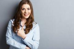 Biznesowej kobiety przedstawienia kciuk up fotografia stock