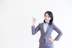 Biznesowej kobiety przedstawienie coś obraz royalty free