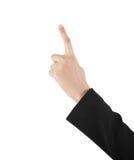 Biznesowej kobiety ręka dotyka wirtualnego ekran. Odizolowywający na bielu. Zdjęcie Royalty Free