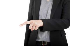 Biznesowej kobiety ręka dotyka wirtualnego ekran. Odizolowywający na bielu. Obrazy Stock
