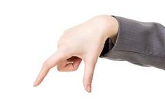 Biznesowej kobiety ręka używać palec wybierać lub brać Zdjęcia Royalty Free