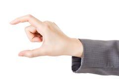 Biznesowej kobiety ręka używać palec wybierać lub brać Fotografia Royalty Free