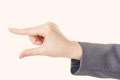 Biznesowej kobiety ręka używać palec wybierać lub brać Zdjęcie Stock