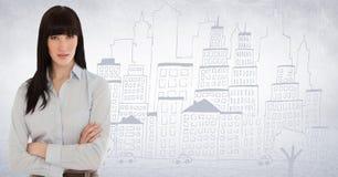 Biznesowej kobiety ręki składali przeciw bielu miasta i ściany doodle Obrazy Royalty Free