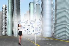 Biznesowej kobiety remis ikony Obraz Stock
