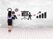 Biznesowej kobiety rysunku krok sukces na biel ścianie Obrazy Royalty Free