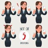 Biznesowej kobiety set Bizneswoman z różnymi twarzy wyrażeniami Dziewczyna z różnorodnymi emocjami Śmieszna kreskówki kobieta wew Obrazy Stock