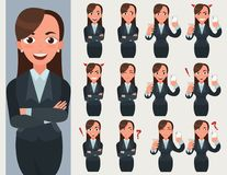 Biznesowej kobiety set Urzędnik z różnymi emocjami i pozami Fotografia Royalty Free