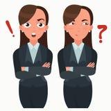 Biznesowej kobiety set Urzędnik z różnymi emocjami Kobiety pozycja składająca ręka Dziewczyn wyrażenia Ustawiający Zdjęcie Stock