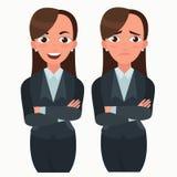 Biznesowej kobiety set Urzędnik z różnymi emocjami Kobiety pozycja składająca ręka Dziewczyn wyrażenia Ustawiający Fotografia Stock