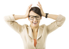 Biznesowej kobiety stresu depresja, bizneswomanu płaczu problem Obrazy Stock