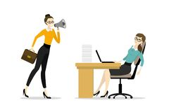 Biznesowej kobiety szef krzyczy w megafon zmęczonym biurem w ilustracji