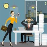 Biznesowej kobiety szef krzyczy w megafon zmęczonym biurem w ilustracja wektor