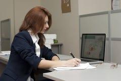 biznesowej kobiety writing Obrazy Stock