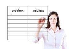Biznesowej kobiety writing problem i rozwiązanie lista. zdjęcie stock