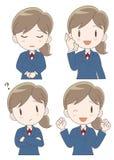 Biznesowej kobiety wyrażenia set ilustracji