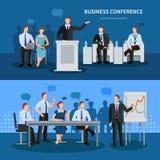 Biznesowej konferenci sztandary Ustawiający ilustracja wektor