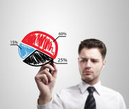 biznesowej mapy kolorowy rysunku wykresu mężczyzna kulebiak Fotografia Stock