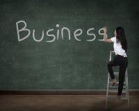 Biznesowej osoby rysunkowy biznes na desce Zdjęcie Royalty Free