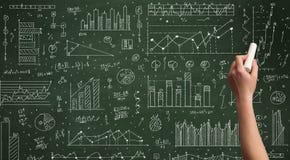 Biznesowej osoby rysunkowy dane na chalkboard Fotografia Royalty Free