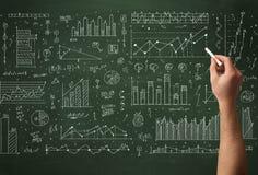 Biznesowej osoby rysunkowy dane na chalkboard Fotografia Stock