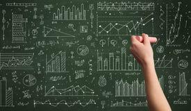 Biznesowej osoby rysunkowy dane na chalkboard Obraz Royalty Free