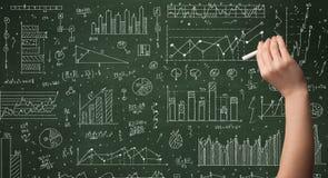 Biznesowej osoby rysunkowy dane na chalkboard Zdjęcie Royalty Free