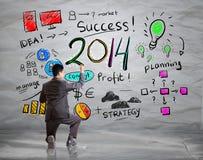 Biznesowej ręki rysunkowy biznes w roku 2014 obraz stock