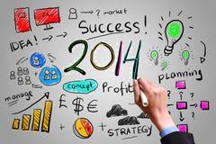 Biznesowej ręki rysunkowy biznes w roku 2014 zdjęcia stock