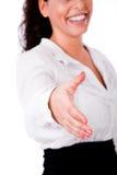 biznesowej ręki otwarta powitalna kobieta ty Zdjęcie Stock